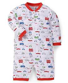 Babyhug Full Sleeves Romper Vehicle Print - Red White