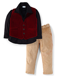 Babyhug Full Sleeves Shirt Pant And Waistcoat - Red Black And Beige