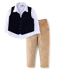Babyhug Full Sleeves Shirt Pant And Waistcoat - Navy White And Beige