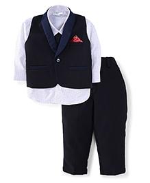 Babyhug Full Sleeves Shirt Pant And Waist Coat - Navy And White