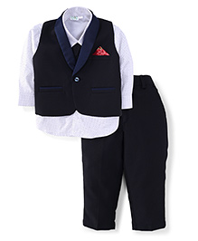 Babyhug Full Sleeves Shirt Pant And Waist Coat - Navy And White