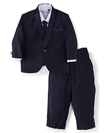 Babyhug Full Sleeves Shirt Blazer Pant & Tie - Navy Blue