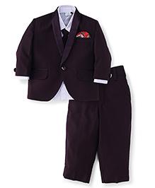 Babyhug Full Sleeves Shirt Blazer Pant & Tie - Dark Purple
