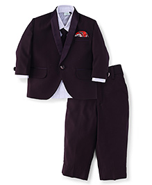 Babyhug Full Sleeves Shirt Blazer Pant & Tie - Dark Purple