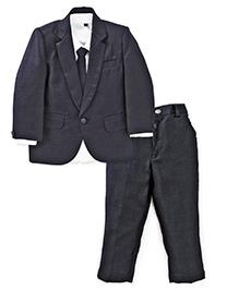 Babyhug Full Sleeves Shirt Blazer Pant Bow & Tie - Dark Blue