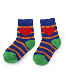 Cute Walk by Babyhug Anti Bacterial Socks Heart Design - Green Blue