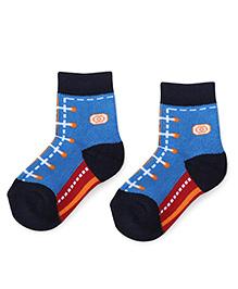 Cute Walk by Babyhug Anti Bacterial Socks Shoe Lace Design - Blue