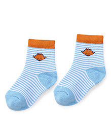 Cute Walk by Babyhug Anti Bacterial Socks Shoe Alien Design - Orange Blue