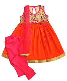 Campana Sleeveless Floral Embroidered Kurti Churidar & Dupatta Set - Orange And Pink