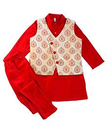 Campana Kurta Pyjama Jacket Set - Red