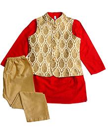 Campana Kurta Pyjama Jacket Set - Red And Beige