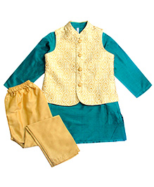 Campana Kurta Pyjama Jacket Set - Dark Green And Cream