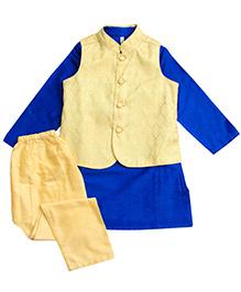 Campana Kurta Pyjama Jacket Set - Blue And Cream