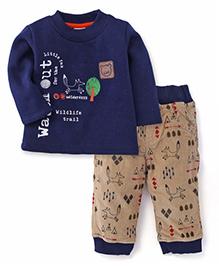 Little Kangaroos Full Sleeves T-Shirt And Pant Set Wildlife Print - Navy