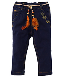 Little Kangaroos Jeans With Belt Solid Color - Dark Blue