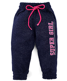 Little Kangaroos Full Length Bottoms With Drawstrings - Navy And Pink