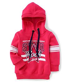 Little Kangaroos Full Sleeves Hooded Sweatshirt Star Rock Print - Pink