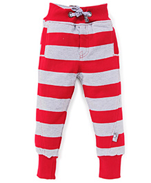 Little Kangaroos Full Length Bottoms Stripes Pattern - Red And Grey