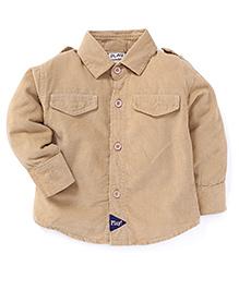 Play by Little Kangaroos Full Sleeves Solid Shirt - Beige