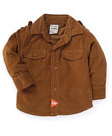 Play by Little Kangaroos Full Sleeves Solid Shirt - Brown