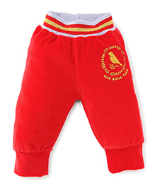Little Kangaroos Full Length Bottoms With Ribbed Hem - Red