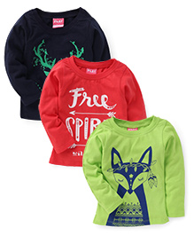 Little Kangaroos Full Sleeves Top Pack of 3 - Navy Red Green