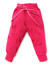 Little Kangaroos Full Length Thermal Bottoms With Drawstrings - Pink