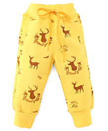 Little Kangaroos Full Length Thermal Bottoms With Drawstrings - Yellow