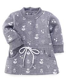 Little Kangaroos Full Sleeves Printed Winter Wear Frock - Grey