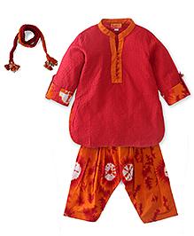 Exclusive from Jaipur Kurta Salwar Dupatta Set - Red & Orange