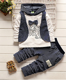 Pre Oder - Petite Kids Hooded T -Shirt And Pant Set - Navy