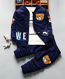 Pre Oder - Petite Kids Boys Full Sleeve Teddy Pant Set - Blue
