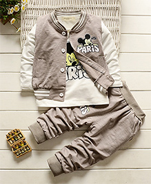 Pre Oder - Petite Kids Teddy Print T -Shirt And Pant Set - Off White