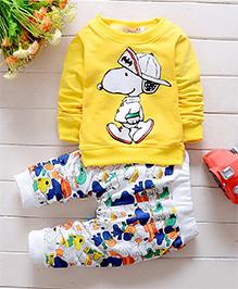 Pre Oder - Petite Kids Printed Boys T-Shirt And Pant Set - Yellow