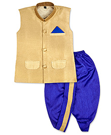 KID1 Nehru Jacket With Dhoti - Golden & Blue