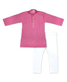KID1 Nehru Kurta Pyjama Set - Pink & White