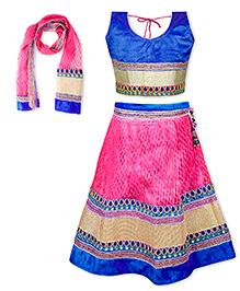 KID1 Iris Velvette Choli With Soft Net Lehenga - Blue & Pink