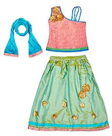 KID1 Pink Gota Patti Flower Lehenga Choli - Pink & Sea Green
