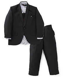 Robo Fry 4 Pieces Party Wear Suit Set With Tie - Black