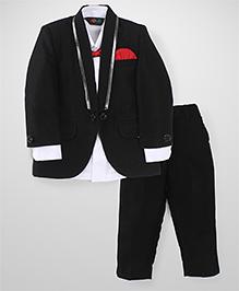 Robo Fry Full Sleeves Shirt Blazer Pant & Bow Set - White And Black