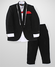 Robo Fry Full Sleeves Shirt Blazer Pant & Bow Set - White And Black