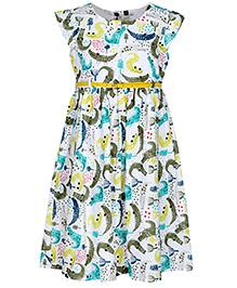 Bella Moda Cap Sleeves Animal Printed Dress - Multicolor