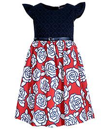 Bella Moda Rose Printed Dress - Red