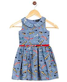 Bella Moda Printed Dress Bow Applique - Blue