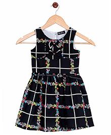 Bella Moda Allover Floral Print Dress - Black
