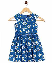 Bella Moda Allover Floral Print Dress - Blue