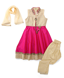 Babyhug Sleeveless Kurta Churidar And Dupatta Set Embellishments - Pink