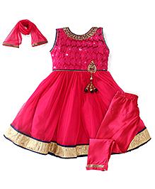 Babyhug Sleeveless Kurti And Churidar With Dupatta - Pink