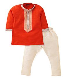 Ethnik's Neu Ron Full Sleeves Kurta And Pajama - Orange And Cream