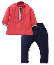 Ethnik's Neu Ron Full Sleeves Kurta And Pyjama Set - Dark Peach And Navy